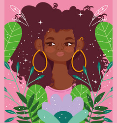 afro american woman with earrings cartoon flowers vector image