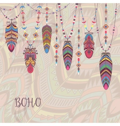 Boho Abstract Design with Bird Feather and Beads vector image