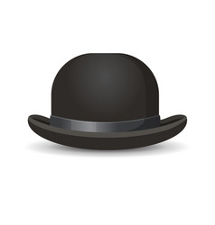 bowler hat in black color isolated on white vector image