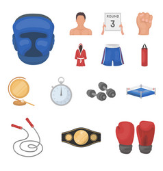 Boxing extreme sports cartoon icons in set vector