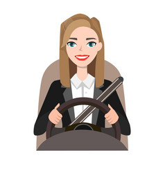 Businesswoman driving a car woman clothing in vector