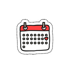 Calendar february doodle icon vector
