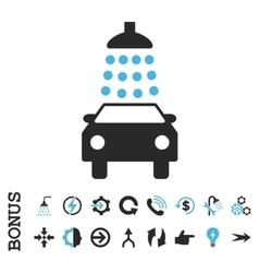 Car Wash Flat Icon With Bonus vector