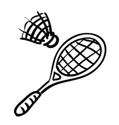 Cartoon image of badminton icon sport symbol vector