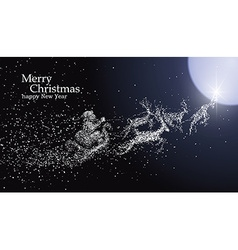 Christmas Eve Santa Claus giving gifts particles vector