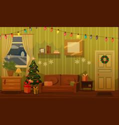 Christmas room with a christmas tree sofa gifts vector
