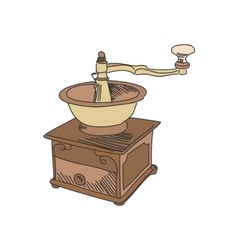 Colored doodle coffee mill vector