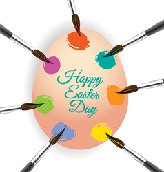 Colorful egg and brush for Easter day greeting vector image