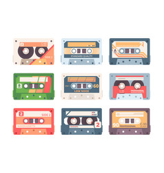 compact cassette colorful flat vector image