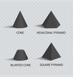 cones and pyramids set black prisms color banner vector image