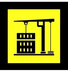 Construction crane yellow icon vector