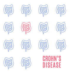 Crohns disease linear pattern medical poster vector