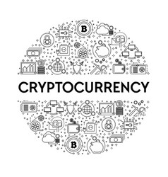 cryptocurrency line icon on emblem bitcoin mining vector image
