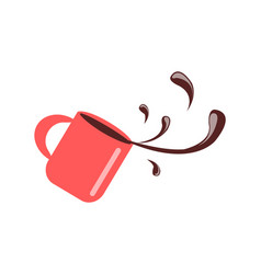 Cup with coffee spilling vector