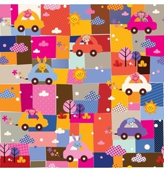cute animals driving cars kids collage pattern vector image