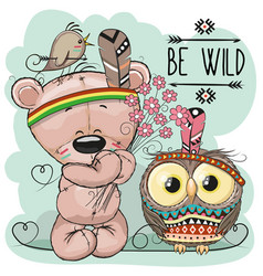 Cute cartoon tribal teddy bear and owl vector