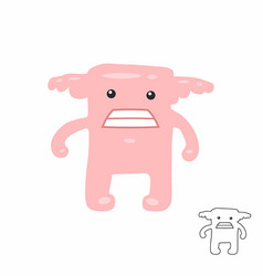 cute pink cartoon monster vector image