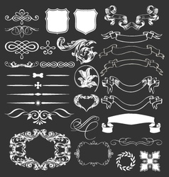 decorative vintage elements and ribbons set vector image