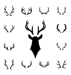 Deer s head and antlers set design elements vector