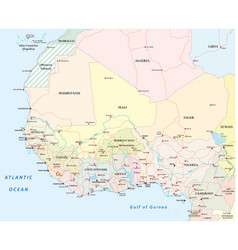 Detailed road map of the countries of west africa vector