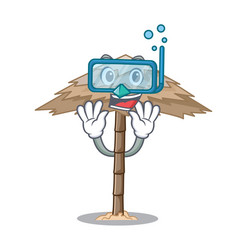 Diving character tropical sand beach shelter vector