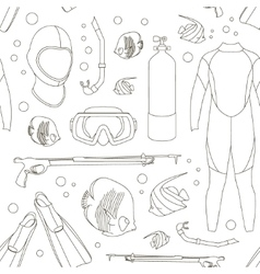 Diving equipment pattern vector image vector image