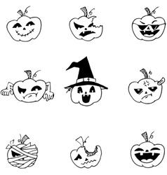 Doodle Halloween pumpkins set vector image