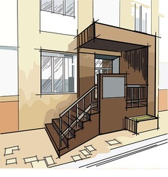 drawing with entrance to the building vector image