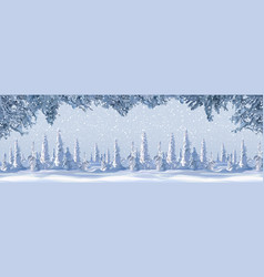 drawn winter background with snowy trees and vector image