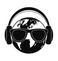 earth headphones icon simple style vector image