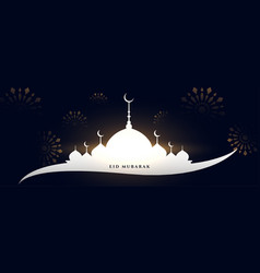 Eid mubarak mosque greeting banner design vector