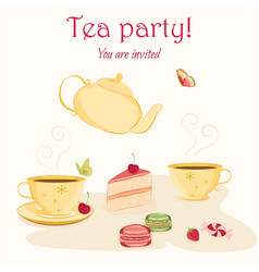 Elegant tea party invitation template with teacups vector