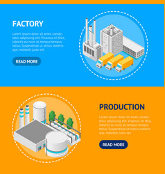 factory concept banner horizontal set 3d isometric vector image