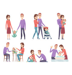 family couples love mother and father playing vector image