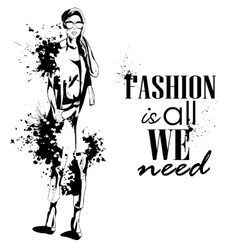 fashion look girl with splashes vector image