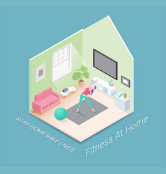 fitness or workout at home isometric illust vector image