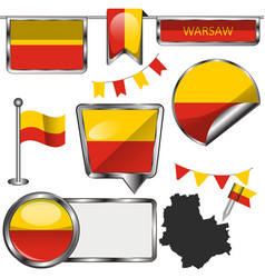 Flags warsaw poland vector