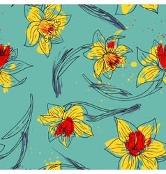 floral seamless pattern with narcissus vector image