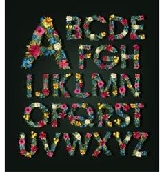 Flower alphabet colorful font uppercase vector