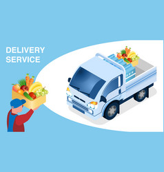 Food delivery logistics isometric banner template vector