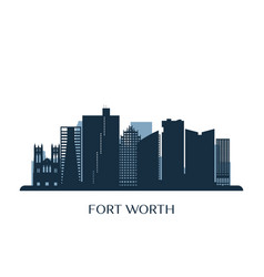 fort worth skyline monochrome silhouette vector image
