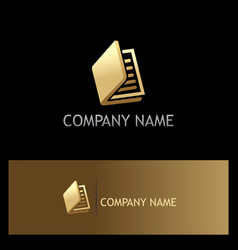 Gold book document logo vector