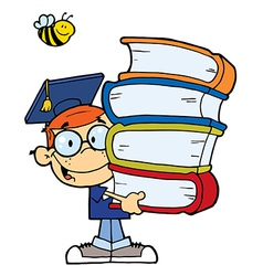 Graduation Boy With Books In Their Hands vector image