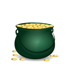 green leprechaun pot full of gold vector image