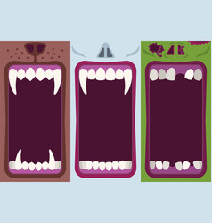 halloween monster mouth banners set vector image