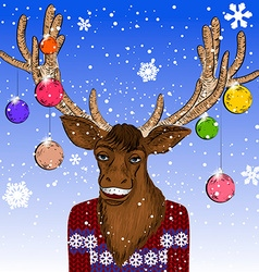 Hand Drawn Christmas Reindeer Sketch vector