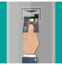 Hand inserts a credit debit card into ATM vector image