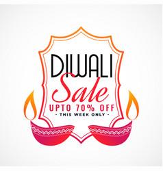 happy diwali sale banner with decorative diya vector image