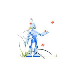 Happy humanoid robot standing in midst vector