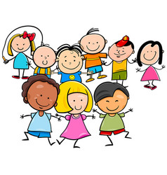Happy kids cartoon characters group vector